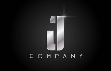 silver alphabet letter J logo design suitable for a company or business