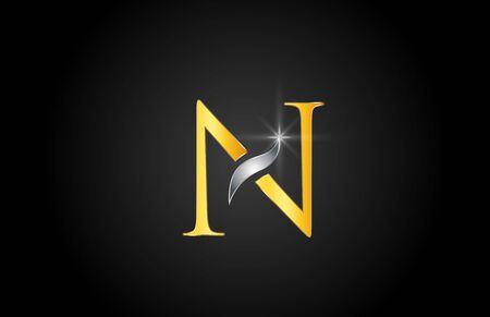 alfabeto oro giallo lettera N logo design adatto per un'azienda o impresa