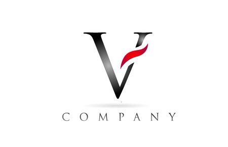 white red alphabet letter V logo design suitable for a company or business Logó