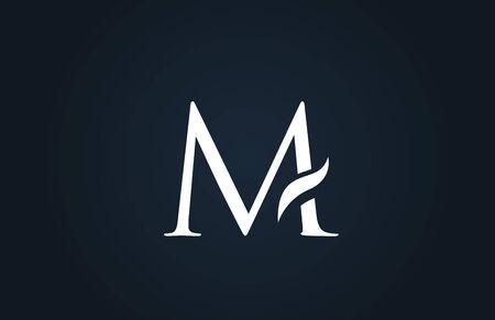 white blue alphabet letter M logo design suitable for a company or business
