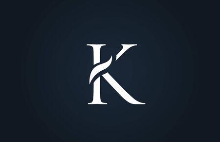white blue alphabet letter K logo design suitable for a company or business