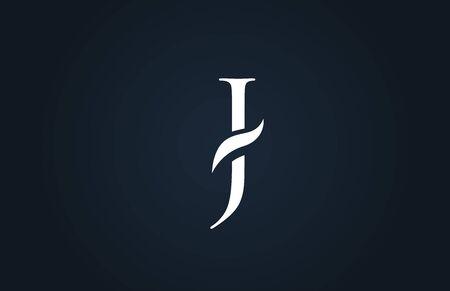 white blue alphabet letter J logo design suitable for a company or business Ilustração