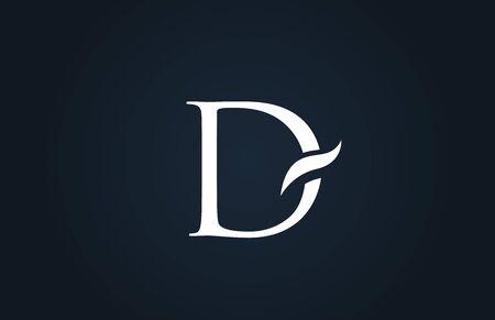 white blue alphabet letter D logo design suitable for a company or business Ilustração