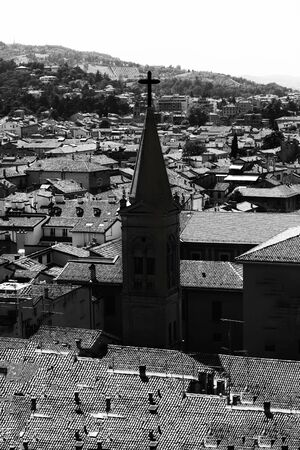 Black and white photography of a church in an old city top view