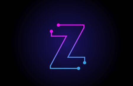 Alphabet letter logo icon design Z in pink blue colors suitable for a technology company or business Logó