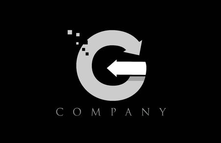 G white black alphabet letter logo icon design suitable for a company or business