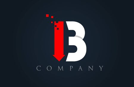 B red white blue alphabet letter logo icon design suitable for a company or business