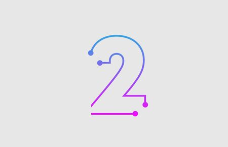 number 2 logo design with colors pink and blue  suitable as an icon or logotype for a technology company or business Vectores