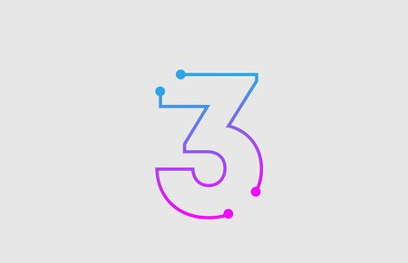 number 3 logo design with colors pink and blue  suitable as an icon or logotype for a technology company or business