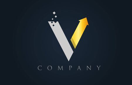 V grey yellow gold alphabet letter logo icon design suitable for a company or business Vettoriali