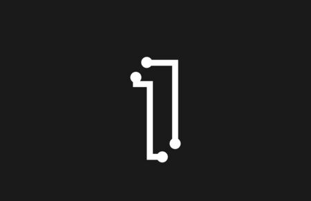 1 number black and white logo design with line and dots suitable as a logotype for a technology company or business Ilustração