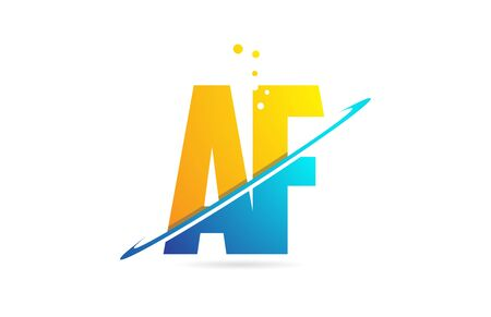 alphabet letter AF A F combination in blue and orange colors suitable as a logo for a company or business Ilustração
