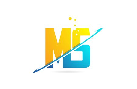 alphabet letter MS M S combination in blue and orange colors suitable as a logo for a company or business