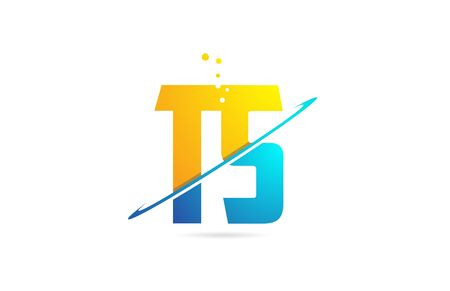 alphabet letter TS T S combination in blue and orange colors suitable as a logo for a company or business