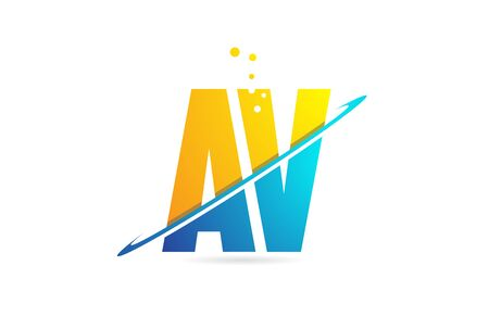 alphabet letter AV A V combination in blue and orange colors suitable as a logo for a company or business