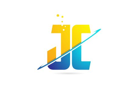 alphabet letter JC J C combination in blue and orange colors suitable as a logo for a company or business