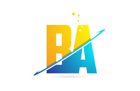 alphabet letter BA B A combination in blue and orange colors suitable as a logo for a company or business