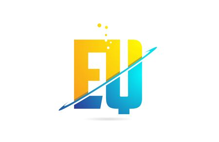 alphabet letter EQ E Q combination in blue and orange colors suitable as a logo for a company or business Illustration