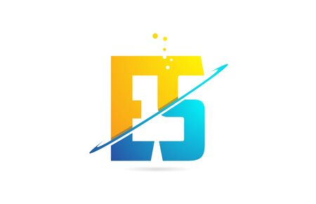 alphabet letter ES E S combination in blue and orange colors suitable as a logo for a company or business Stock Illustratie