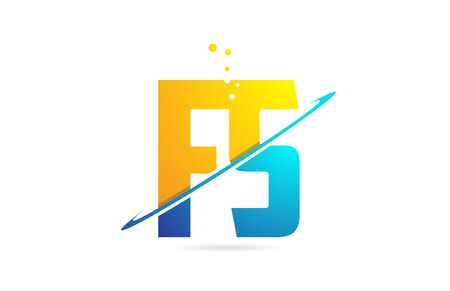 alphabet letter FS F S combination in blue and orange colors suitable as a logo for a company or business