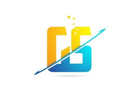 alphabet letter GS G S combination in blue and orange colors suitable as a logo for a company or business Illusztráció