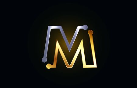 gold and silver metal letter M alphabet logo icon design suitable as a logotype for a company or business Illusztráció