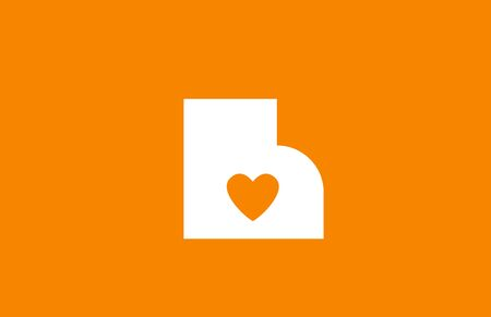 love heart orange white alphabet letter h for company logo icon design. Suitable as logotype for a business