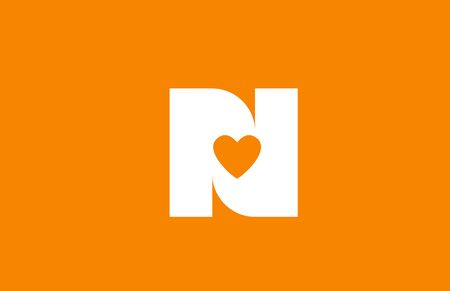 love heart orange white alphabet letter n for company logo icon design. Suitable as logotype for a business Vectores