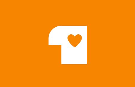 love heart orange white number 1 for company logo icon design. Suitable as logotype for a business Banco de Imagens - 129639271