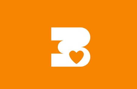 love heart orange white number 3 for company logo icon design. Suitable as logotype for a business