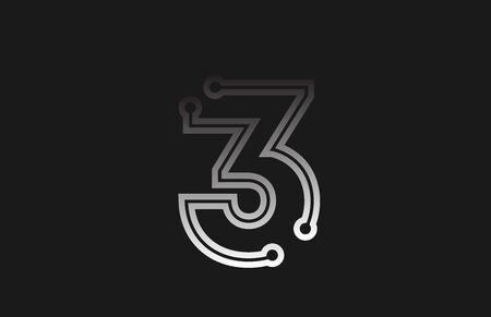 black and white line number 3 for company logo icon design. Suitable as logotype for a business Illusztráció