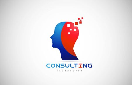 Logo icon design with a human head suitable for a technology or consulting business. Concept of being smart, capable or genius