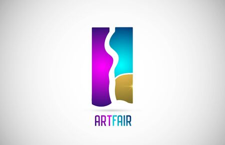 Art fair exposition logo icon design with pink and blue colors. Corporate identity logotype suitable for an artistic expo, trade show, exhibitions or festivals