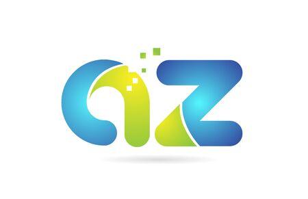 az a z blue green alphabet combination letter logo design suitable for a company or business