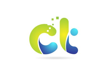 ct c t blue green alphabet combination letter logo design suitable for a company or business  イラスト・ベクター素材