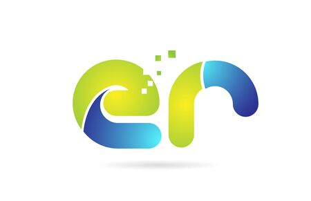er e r blue green alphabet combination letter logo design suitable for a company or business