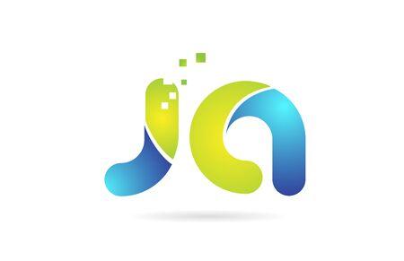 ja j a blue green alphabet combination letter logo design suitable for a company or business Illustration