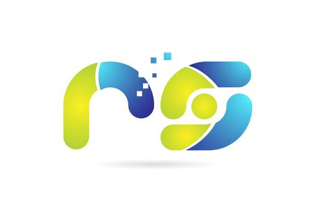 rs r s blue green alphabet combination letter logo design suitable for a company or business