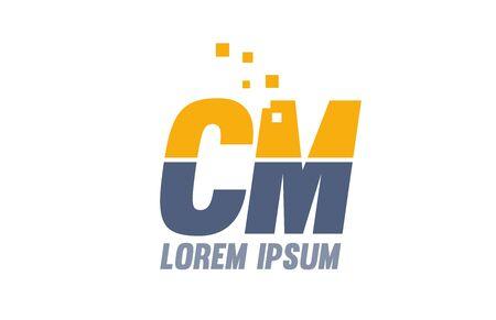 yellow blue CM C M alphabet letter logo icon design suitable for a company or business Logó