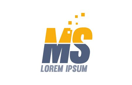yellow blue MS M S alphabet letter logo icon design suitable for a company or business
