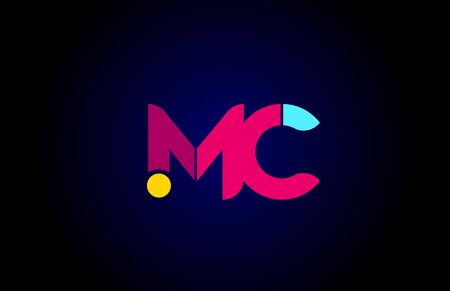 pink blue alphabet letter MC M C combination for company logo. Suitable as logotype design for a business