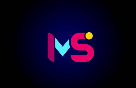 pink blue alphabet letter MS M S combination for company logo. Suitable as logotype design for a business