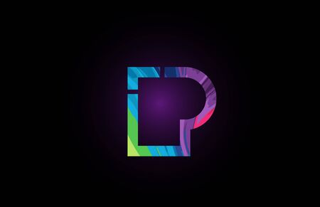 p colored alphabet letter for company logo icon. Suitable as logotype for a company or business Illustration