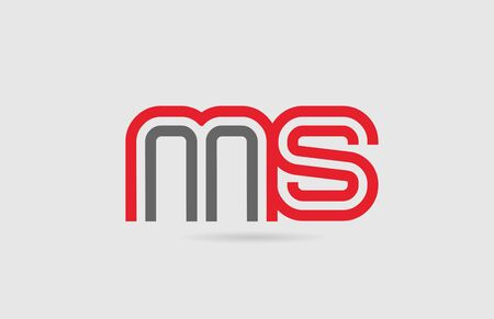 red grey alphabet letter combination MS M S for icon design. Suitable for a company or business