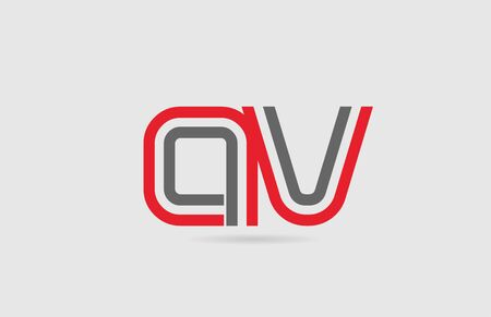 red grey alphabet letter combination AV A V for icon design. Suitable for a company or business