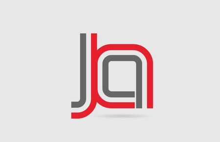 red grey alphabet letter combination JA J A for icon design. Suitable for a company or business