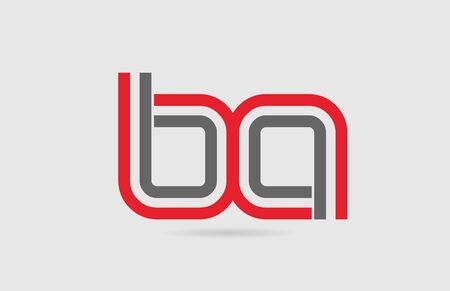 red grey alphabet letter  combination BA B A for icon design. Suitable for a company or business
