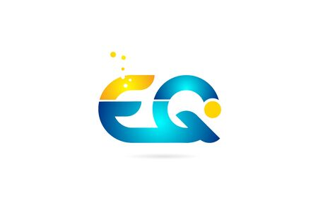 letter combination eq e q orange blue alphabet for company. Suitable as icon for a business