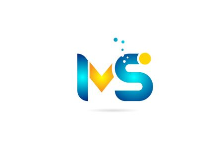 letter combination ms m s orange blue alphabet for company. Suitable as icon for a business 向量圖像
