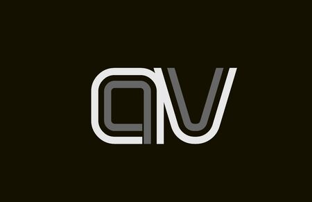 black and white line AV A V letter alphabet combination for icon design. For a company or business.